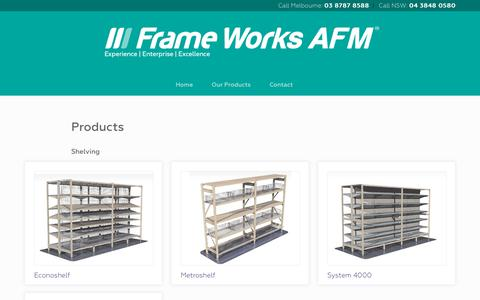 Screenshot of Products Page frame-works.com.au - Products  |  Frame Works AFM - Frame Works AFM - captured Oct. 1, 2018