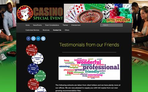 Screenshot of Testimonials Page casinospecialevent.com - Testimonials From our Friends - Casino Special EventCasino Special Event - captured May 15, 2017
