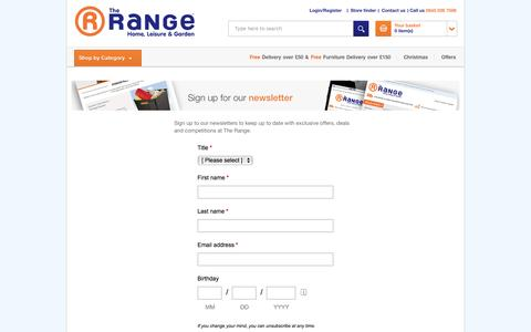 Screenshot of Signup Page therange.co.uk - The Range - Content - captured Oct. 31, 2014
