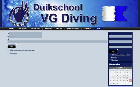 Screenshot of Login Page vgdiving.nl - Login - captured Oct. 27, 2018