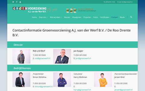 Screenshot of Contact Page groenwerf.nl - Contact - Groenvoorziening A.J. van der Werf B.V. - captured Sept. 20, 2017