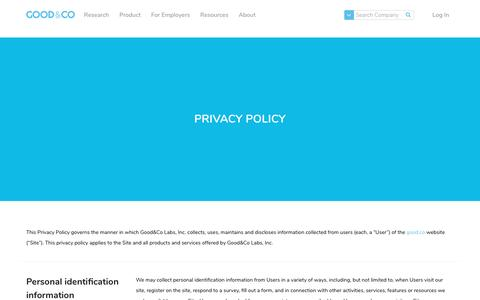 Screenshot of Privacy Page good.co - Privacy Policy - Good & Co - captured April 23, 2017