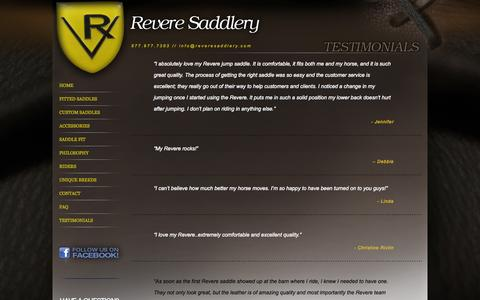 Screenshot of Testimonials Page reveresaddlery.com - Revere Saddlery - Quality Saddles Made in the USA - captured Oct. 8, 2014