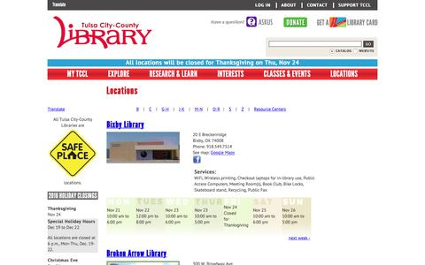 Screenshot of Locations Page tulsalibrary.org - Locations | Tulsa City-County Library - captured Nov. 24, 2016