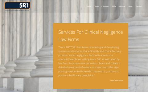 Screenshot of Services Page 5r1.co.uk - 5R1 LimitedServices For Clinical Negligence Law Firms | 5R1 Limited - captured Oct. 7, 2014