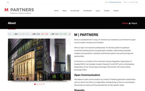 Screenshot of About Page mpartners.ca - About - captured Feb. 2, 2016