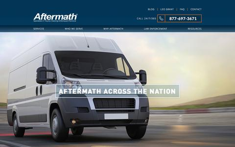 Screenshot of Locations Page aftermath.com - Aftermath Locations - Nationwide, 24/7/365 | Aftermath Services - captured Sept. 14, 2017