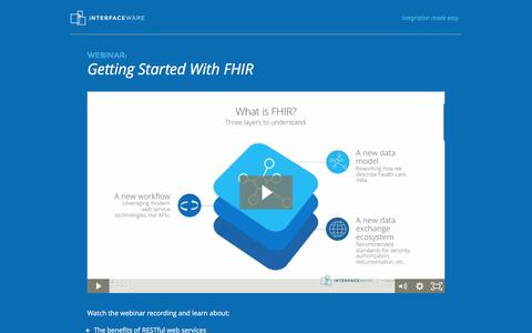 Screenshot of Landing Page interfaceware.com - Webinar: Getting Started With FHIR - captured Oct. 20, 2016