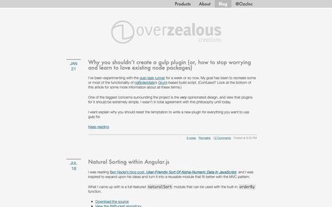 Screenshot of Blog overzealous.com - OverZealous Creations: The Blog - captured Oct. 18, 2018