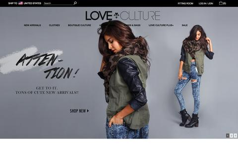 Screenshot of Home Page loveculture.com - Juniors Clothing & Teen Clothing │ Love Culture - captured Sept. 23, 2014
