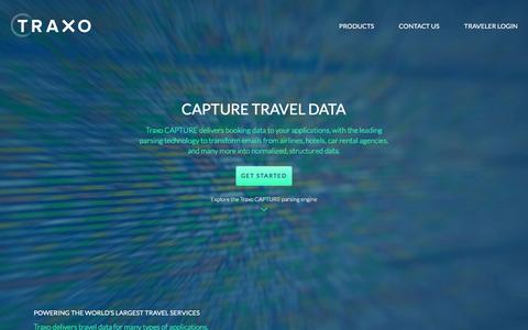 Screenshot of Products Page traxo.com - Traxo Capture - Travel reservation parsing | Traxo: Travel Organized - captured Nov. 1, 2017