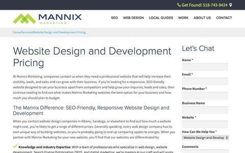 Screenshot of Pricing Page mannixmarketing.com - SEO Friendly Website Design and Development Cost and Pricing | Mannix Marketing, Inc. - captured May 26, 2017