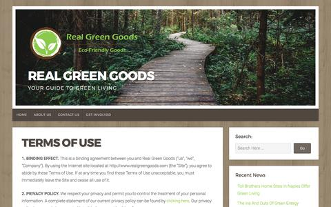 Screenshot of Terms Page realgreengoods.com - Terms of Use – Real Green Goods - captured June 12, 2017