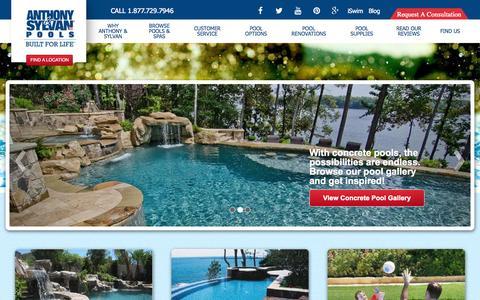 Screenshot of Home Page anthonysylvan.com - Swimming Pool Builder - Custom Pools - Anthony & Sylvan - - captured Sept. 10, 2015