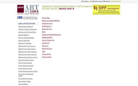 Screenshot of Site Map Page artwelove.com - Shop.ArtWeLove : Fine Art, Finally Collectible. - captured Oct. 4, 2014