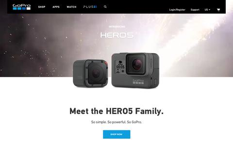 Screenshot of Home Page gopro.com - GoPro Official Website - Capture + share your world - Homepage - captured Sept. 21, 2016