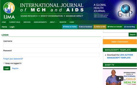 Screenshot of Login Page mchandaids.org - Login | International Journal of MCH and AIDS (IJMA) - captured Oct. 2, 2018