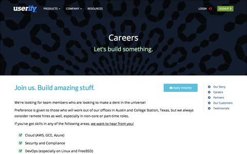 Screenshot of Jobs Page userify.com - Careers - SSH Key Manager for the Cloud - Userify - captured June 18, 2017