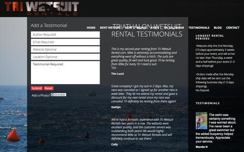 Screenshot of Testimonials Page triwetsuitrentals.com - Client Testimonials | Tri Wetsuit Rentals - captured Dec. 17, 2016