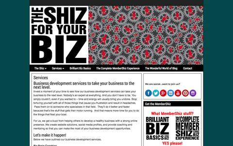Screenshot of Services Page theshizforyourbiz.com.au - Business Development Services, Website Solutions & Online Marketing Strategies - captured Oct. 9, 2014