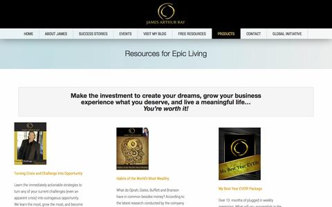 Screenshot of Products Page jamesray.com - Resources for Epic Living | Harmonic Wealth Global - captured Nov. 3, 2014