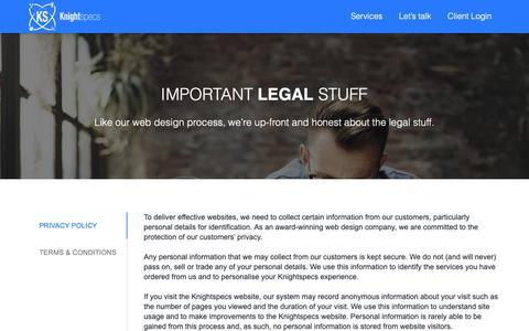 Screenshot of Terms Page knightspecs.com - Legal Stuff | Knightspecs - captured Oct. 15, 2018