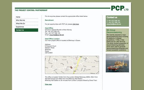 Screenshot of Contact Page pcp-ltd.net - Contact Us - captured Sept. 26, 2014
