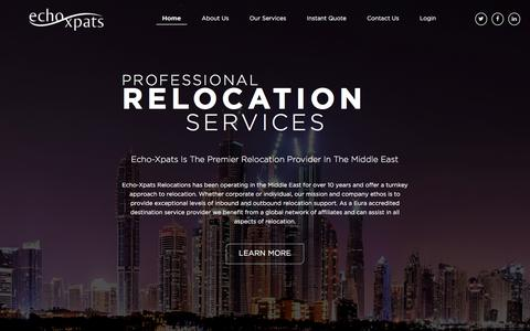 Screenshot of Home Page echo-xpats.com - Relocation Services Company in Dubai   Corporate Relocation Companies - captured Dec. 7, 2015