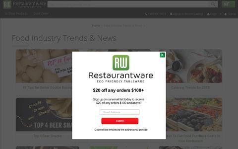 Screenshot of Blog restaurantware.com - Food Industry Trends & News - captured April 24, 2018