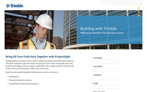 Screenshot of Landing Page trimble.com captured May 4, 2017