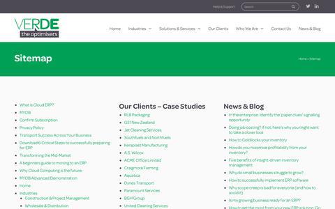 Screenshot of Site Map Page verde.co.nz - Sitemap - Verde - captured Oct. 18, 2018