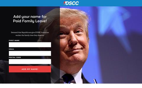 Screenshot of Landing Page dscc.org - |  Demand that Republicans give EVERY American worker -- not just Paul Ryan - captured March 17, 2017