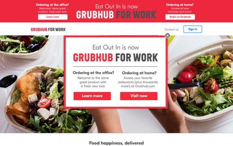 Screenshot of grubhub.com - Corporate Catering and Food Delivery | Grubhub for Work - captured May 14, 2017