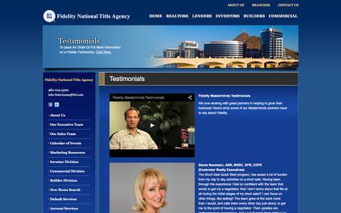 Screenshot of Testimonials Page fntarizona.com - Testimonials - Fidelity National Title Agency - captured Feb. 9, 2016