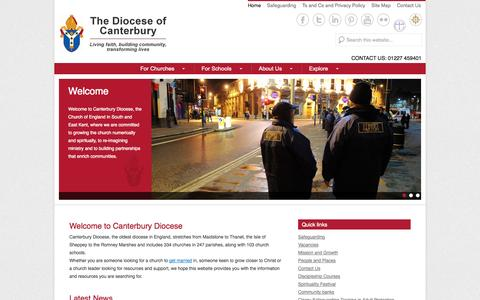 Screenshot of Home Page Menu Page canterburydiocese.org - The Diocese of Canterbury | Living faith, building community, transforming lives - captured Oct. 5, 2014