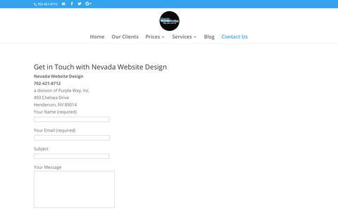 Contact Us | Nevada Website Design | Henderson | Las Vegas