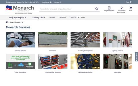 Screenshot of Services Page monarchelectric.com - Services | Monarch Electric - Switchgear, Lighting and More  | Monarch Electric - captured Sept. 20, 2018