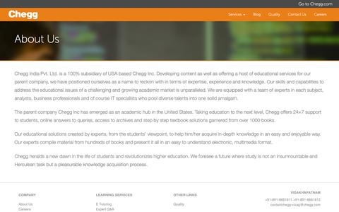 Screenshot of About Page cheggindia.com - About Us - Chegg India - captured Nov. 3, 2018