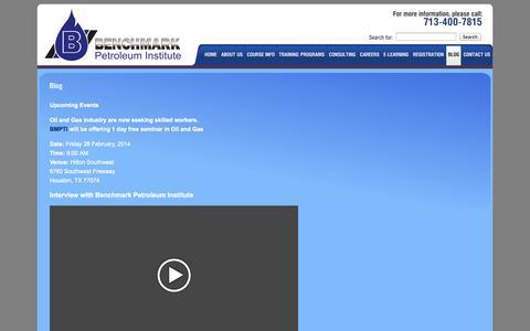 Screenshot of Blog bmpti.com - Benchmark Petroleum Institute - Business Services - Houston, Texas - Blog - captured Oct. 5, 2014