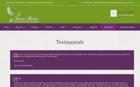 Screenshot of Testimonials Page securehaven.co.uk - Testimonials | Secure Haven - captured May 17, 2017