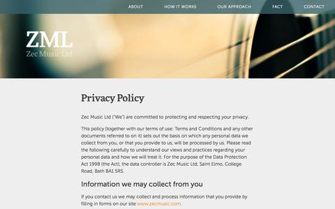 Screenshot of Privacy Page zecmusic.com - ZecMusic - music for commercials - captured Oct. 7, 2014