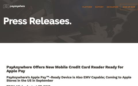 Screenshot of Press Page payanywhere.com - PayAnywhere Offers New Mobile Credit Card Reader Ready for Apple Pay | PayAnywhere - captured Sept. 28, 2018