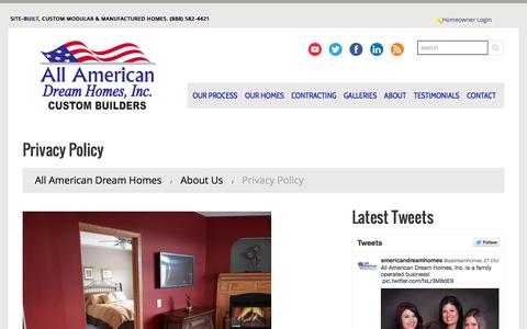 Screenshot of Privacy Page americandreamcustombuilders.com - Privacy Policy | All American Dream Homes - captured Nov. 2, 2014
