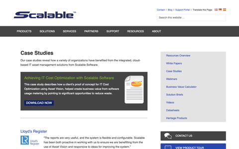 Screenshot of Case Studies Page scalable.com - Case Studies | Scalable Software - captured Oct. 2, 2018