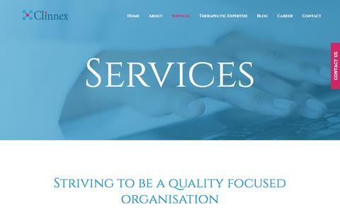 Screenshot of Services Page clinnex.com - Services – Clinnex - captured May 18, 2017