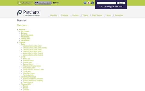 Screenshot of Site Map Page pritchitts.com - Site Map | Pritchitts - captured Oct. 2, 2014