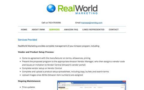 Screenshot of Services Page rwmktg.com - Amazon sales management | RealWorld Marketing: Services - captured Nov. 5, 2014