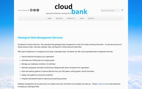 Screenshot of Services Page cloudbank.net.au - Geological Data Management Services - captured Oct. 2, 2014