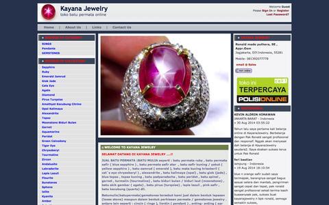 Screenshot of Home Page kayanajewelry.com - Cincin Permata | batu permata | batu mulia | batu safir | batu akik | cincin batu - captured Sept. 23, 2014