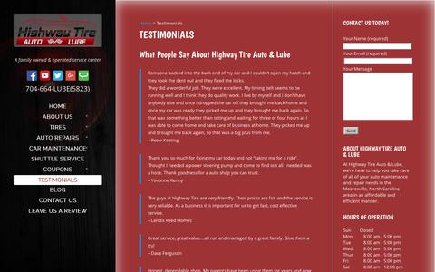 Screenshot of Testimonials Page highwaytirelkn.com - Testimonials | Highway Tire Auto and Lube - captured Aug. 14, 2017